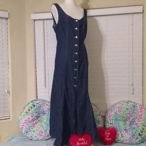 Maxi, button-down, lightweight, summer denim dress